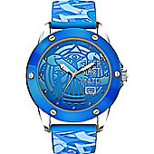 Marc Ecko Gents Blue Rubber Patterned Strap Watch E09530G8 E09530G8