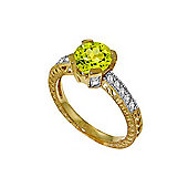 QP Jewellers Diamond & Peridot Fantasy Ring in 14K Gold