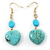 Turquoise Stone Drop Heart Earrings
