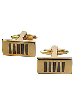 Gold Plated and Black Enamel Stripe Rectangle Cufflinks