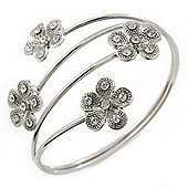 Silver Plated Crystal Daisy Upper Arm, Armlet Bracelet - Adjustable