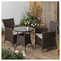 Rattan Garden Bistro Set, Brown