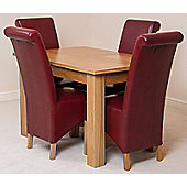 Hampton Solid Oak Extending 120 - 160 cm Dining Table with 4 Burgundy Montana Leather Chairs