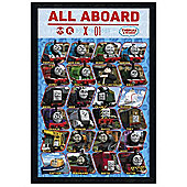 Black Wooden Framed Thomas The Tank Engine All Aboard Poster