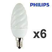 Pack of 6 Philips 5W SES E14 Energy Saving Twisted Candle Bulbs in Warm White
