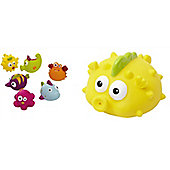 Tippitoes Bundle - Seaside Pals Pack Of 6 And Moonfish Jumbo Squirter - 2 Items Supplied