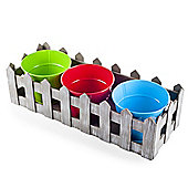 Multi Coloured Metal Planter Set in Wooden Picket Fence Tray