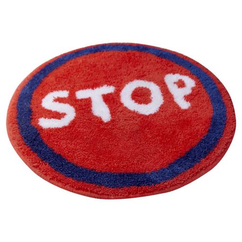 Catherine Lansfield Kids Trucks Stop Sign Single Rug - 70 cm W x 60 cm D (2 ft 3.5 in x 1 ft 11.5 in)