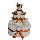 Unisex Giraffe Baby Nappy Cake Gift (Two Tier)