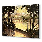 Hill Interiors Bridge Over The River Canvas Art