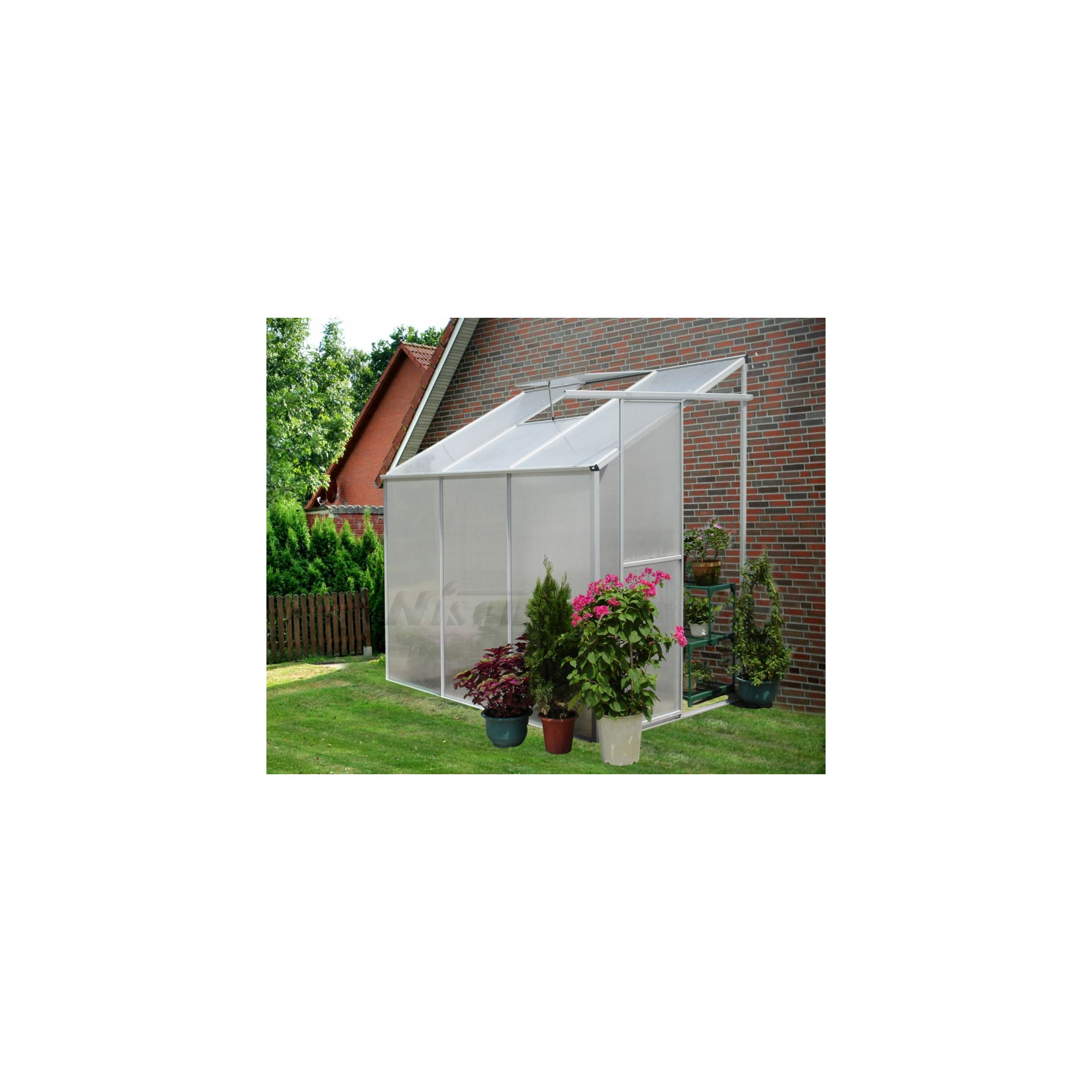 Nison Aquila 6x4 Aluminium Polycarbonate Lean To Greenhouse, Includes Base & Free Shelving at Tesco Direct