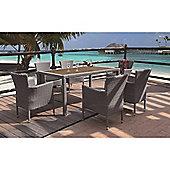 BrackenStyle Luxury Stacking Rattan Dining Set & Cushions - Dark Grey