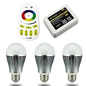 MiLight E27 9W RGB Colour Smart Light Starter Kit with Bridge, Remote and 3 Bulbs
