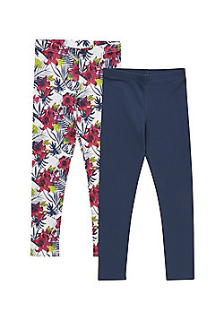 F&F 2 Pack of Floral and Plain Leggings with As New Technology - Multi