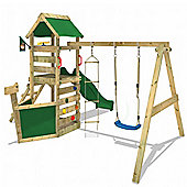 Wickey Waveflyer Wooden Climbing Frame with Green Slide