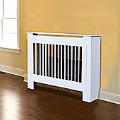 Homcom Radiator Cover Painted Slatted Cabinet MDF Lined Grill White 112L x 19W x 81H (cm)