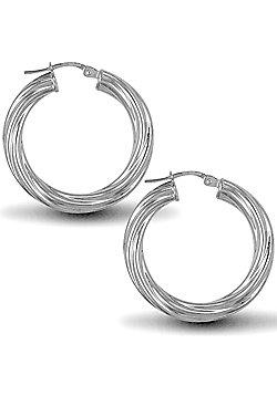 Jewelco London Sterling Silver Twist Hoop Earrings - 4mm