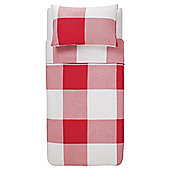 Oversize Check Single Duvet Set - Red