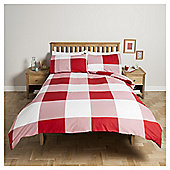 Tesco Oversize Check Duvet Set , - Red