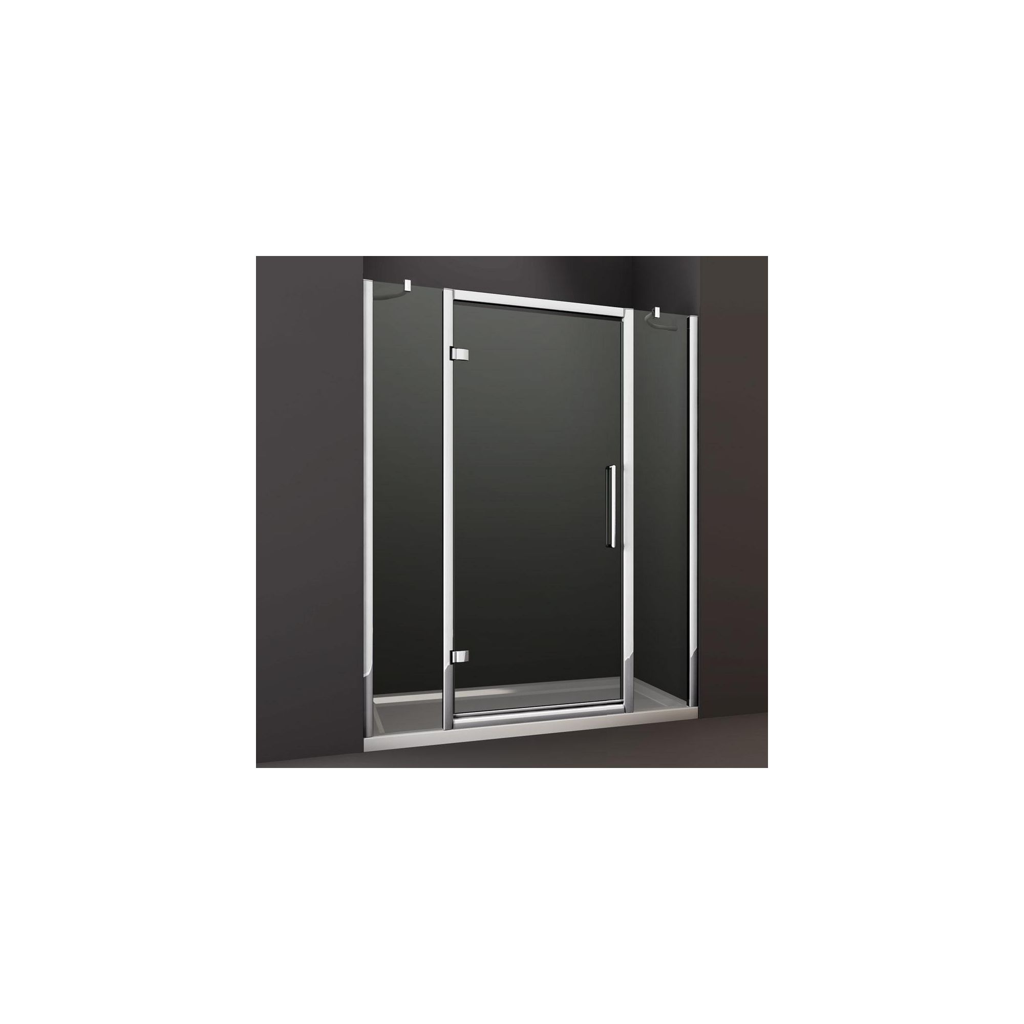 Merlyn Series 8 Double Inline Hinged Shower Door, 1400mm Wide, Chrome Frame, 8mm Glass at Tesco Direct