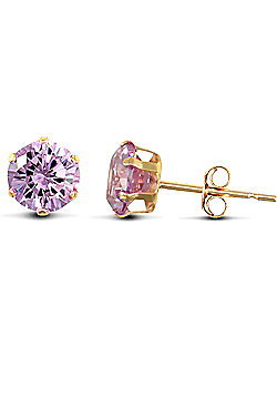 Jewelco London 9ct Yellow Gold studs claw-set with 5mm Solitaire light blue CZ stone