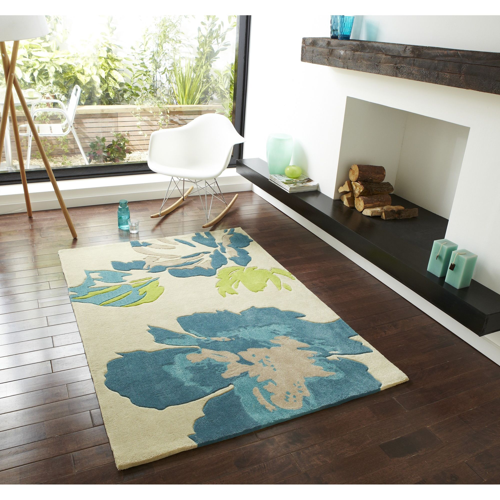 Oriental Carpets & Rugs Hong Kong 2827 Beige/Blue Rug - 120cm x 170cm