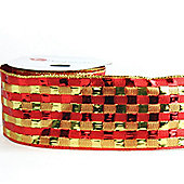 Ribbon Wired Edge - 2.5inches x 10y - Red & Gold