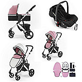Tutti Bambini Riviera Plus 3 in 1 Silver Travel System - Dusty Pink/Cool Grey