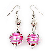 Silver Tone Fuchsia Pink Faux Pearl Drop Earrings - 5.5cm Drop