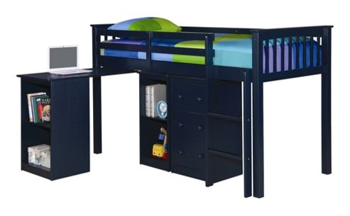 Rustic Retreat Milo Mid Sleeper Sleep Station Bunk Bed - Solid Navy Blue