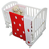 Cuddles Collection Knitted Baby Wrap Blanket (Red Stars)