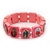 Stretch Pink Wooden Saints Bracelet / Jesus Bracelet / All Saints Bracelet - Up to 20cm Length