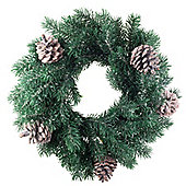 35cm Pine Cone & Realistic Artificial Green Fir Christmas Wreath Decoration