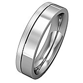 Platinum - 5mm Premium Flat Court with Fine Groove Part Satin Finish Band Commitment / Wedding Ring -