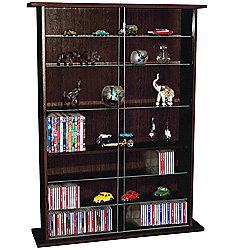 Boston - Glass Collectable Display Cabinet / Cd Dvd Storage Shelves - Dark Oak
