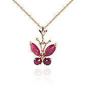QP Jewellers 24in 0.68mm Butterfly Necklace with 0.60ct Ruby Pendant in 14K Rose Gold