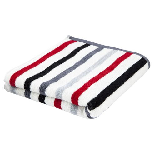 Tesco red multi stripe Bath Towel