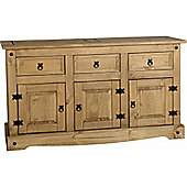 Corona Mexican Distressed Waxed Pine 3 Door 3 Drawer Large Sideboard Buffet Unit