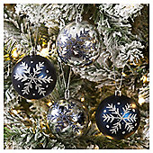 Glitter Snowflake Christmas Baubles, Silver and Blue, 4 pack