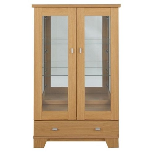 Caxton Sherwood 2 Door / 1 Drawer Display Cabinet in Natural Oak