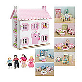 Le Toy Van Sophie's House Dolls House, Daisylane Furniture and Dolls