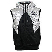 Adidas Originals Mens Padded Hooded Gilet Jacket - Black / Metallic Silver Small