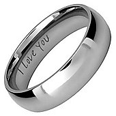 Willis Judd New Mens 6mm Titanium Ring Engraved I Love You