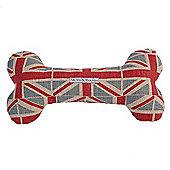 Union Jack Linen Squeaky Bone Toy, Medium