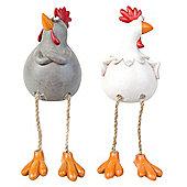 Susan & Walter the Dangly Leg Edge-Sitting Chicken Ornaments
