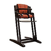 Walnut BabyDan Danchair High Chair & Red Comfort Cushion