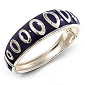 Deep Purple Ornamental Enamel Hinged Bangle Bracelet (Silver Tone)