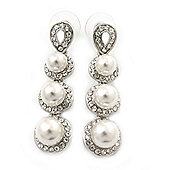 Bridal/ Wedding/ Prom/ Party Rhodium Plated Clear Swarovski Crystal, Glass Pearl Linear Drop Earrings - 50mm