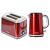 Brabantia BQPK11 Red Breakfast Kettle and 2 Slice Toaster Set