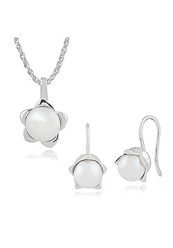Gemondo 925 Sterling Silver Lily of The Valley Flower Pearl Drop Earring & 45cm Necklace Set